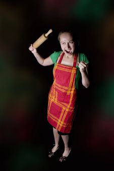 Free Angry Wife With Rolling Pin Stock Image - 9680791
