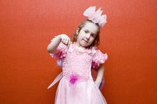 Free Little Girl Dressed In Pink With Wings Stock Photography - 9681772