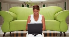 Free Young Woman Working On A Laptop Stock Photography - 9682892