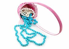 Free Colored Pearl Beads In Pink Wicker Basket Isolated Stock Images - 9683004