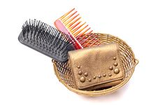 Free Brush, Comb And Leather Purse Royalty Free Stock Photography - 9683167