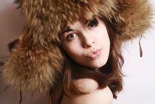 Portrait Of The Beautiful Girl In A Fur Cap Stock Photography