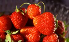 Free Red Strawberries On A Dark Background Royalty Free Stock Image - 9683646