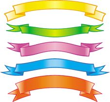 Free Set Of Bright Vector Colored Ribbons Stock Image - 9683931