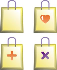 Free Shopping Bag Vector Icons Royalty Free Stock Photography - 9684187