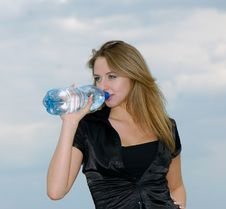 Free Woman Drinks Water Stock Images - 9684904