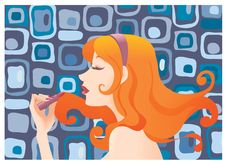 Free Girl Applying Lipstick Stock Photography - 9685832
