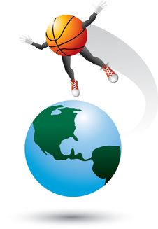 Free Basketball Character On Top Of The World Royalty Free Stock Images - 9686849