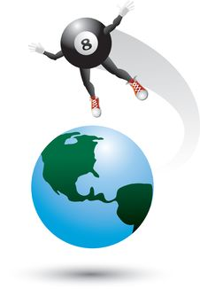 Free Eight Ball Character On Top Of World Stock Photos - 9686853