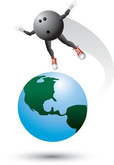 Free Bowling Ball Character On Top Of The World Royalty Free Stock Photo - 9686875