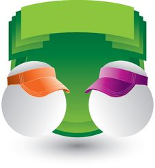Free Ping Ping Balls With Visors On Green Crest Royalty Free Stock Photography - 9686907