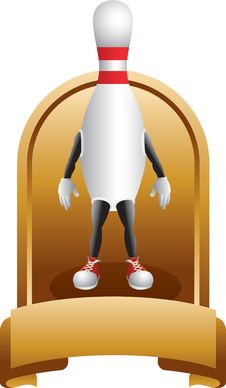 Free Bowling Pin Character In Gold Display Royalty Free Stock Photo - 9686925