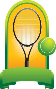 Tennis Ball And Racket In Green Display Royalty Free Stock Photos