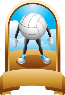 Free Volleyball Character In A Gold Display Royalty Free Stock Photo - 9686945