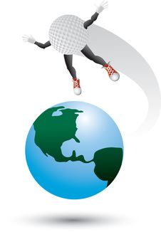 Free Golf Ball Character On Top Of The World Royalty Free Stock Images - 9686949
