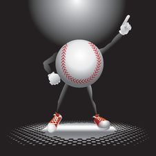 Baseball Character On The Dance Floor Stock Image