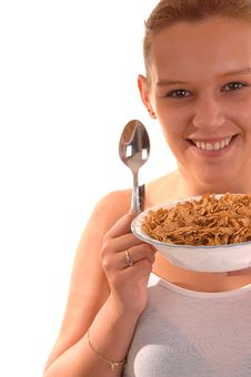 Free Smiling Woman With Cereal. Stock Photo - 9687830
