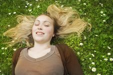 Free Happy Woman Lying In Grass Stock Photos - 9689713