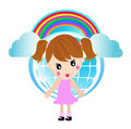 Free Little Girl And Rainbow Stock Photo - 9695830