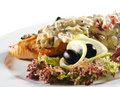 Free Salmon Steak Under Vegetables Royalty Free Stock Image - 9695916
