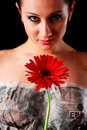 Free Beautiful Woman, Newspaper And Flower Stock Image - 9696611