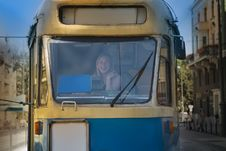 Free Woman In A Tram Royalty Free Stock Image - 9690196