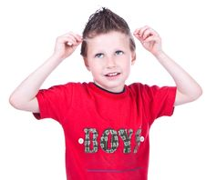 Free Cute Blue-eyed Boy Posing Stock Photography - 9690322