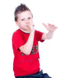 Free Cute Blue-eyed Boy Posing Stock Photo - 9690330