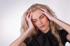 A Shot Of A  Businesswoman Having A Headache Stock Photography