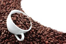 Free White Cup Filled With Coffee Beans Stock Photo - 9691820