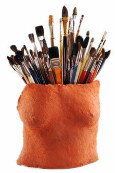 Free Brushes In Ceramic Vase Royalty Free Stock Photography - 9695457