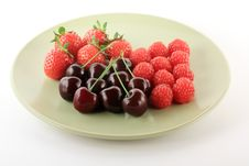Free Red Fruits On Light Plate Stock Images - 9695494