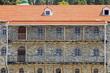 Old Building With Balconies And A Tile Roof, Athos Royalty Free Stock Photo