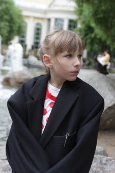 Free Child In Father S Coat Stock Photo - 9696280