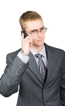 Free Calling Confident Busisnessman In Glasses Isolated Stock Photo - 9696730