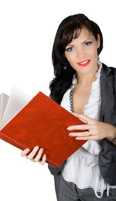 Free Businesswoman With Big Red Book Isolated Royalty Free Stock Images - 9696799