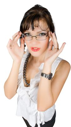 Free Alluring Teacher  Take Off Glasses Isolated Royalty Free Stock Photos - 9696938