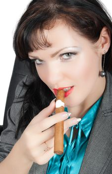 Free Portrait Of  Sexy Brunette Smoking Cigar Isolated Stock Photos - 9697043