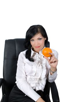 Free Pertty Businesswoman With Orange Isolated Royalty Free Stock Photos - 9697048
