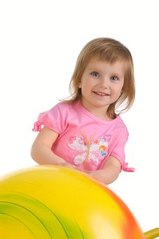 Free Little Girl And Big Yellow Ball Stock Photography - 9697902