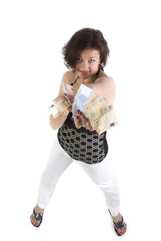 Free Pretty Young Woman Hold The Money Stock Photos - 9697963