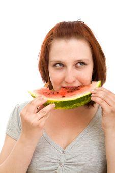Free Woman Eating Water Melon Stock Photos - 9699163