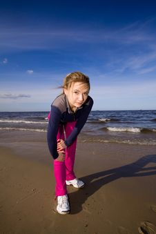 Free Active Woman On The Beach Royalty Free Stock Photo - 9699205