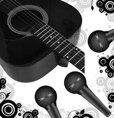 Free Guitar And Microphones Royalty Free Stock Images - 9699339