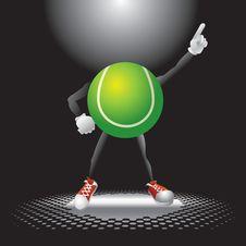 Tennis Ball Character Under The Spotlight Stock Image