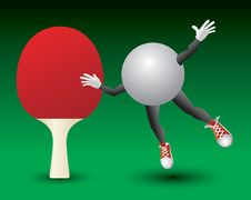 Free Ping Pong Ball Character And Paddle Royalty Free Stock Photos - 9699398
