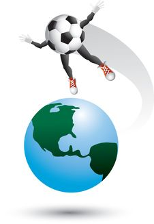 Soccer Ball Character On Top Of The World Stock Photography