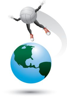Free Volleyball Character On Top Of The World Royalty Free Stock Images - 9699449