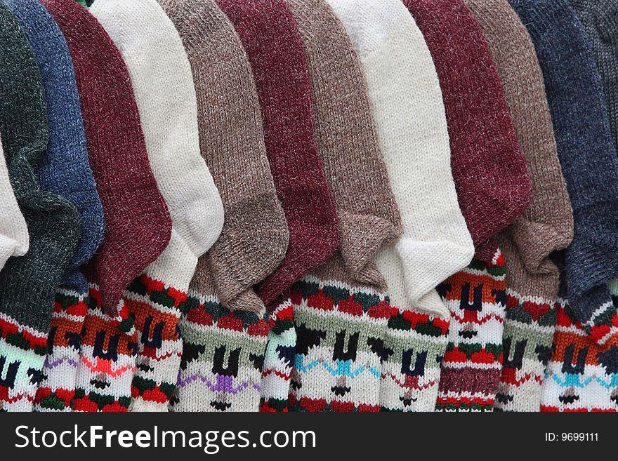 Many warm cheerful socks