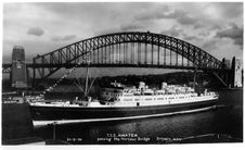 Free 21 Sep 1936 - T.S.S. Awatea Passing The Harbour Bridge, Sydney - Real Photo Post Card - Restored Version Royalty Free Stock Image - 96932786